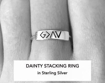 God Is Greater Than The Highs And Lows, Sterling Silver Ring, Christian Jewelry, Christian Ring, Confirmation Gift, For Women, For Her