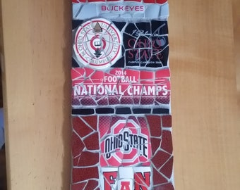 "OSU Buckeye (Ohio State) ""Fan"" - Mosaic from recycled materials"