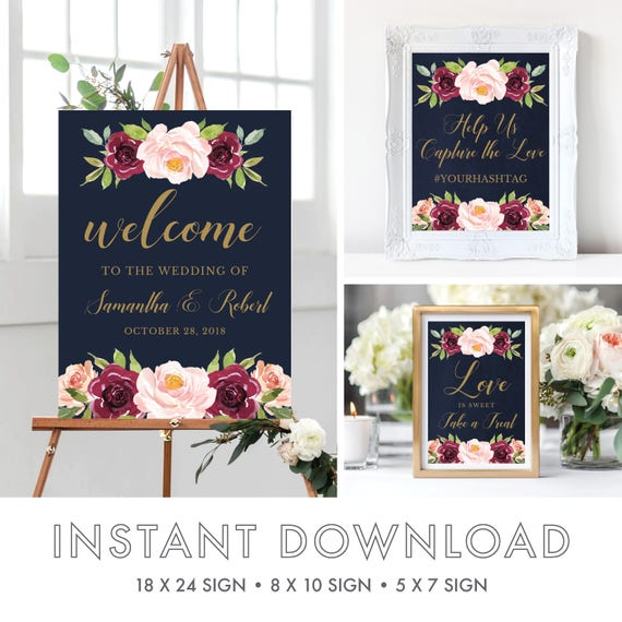 welcome to our wedding signs welcome to our wedding template marsala wedding watercolor. Black Bedroom Furniture Sets. Home Design Ideas