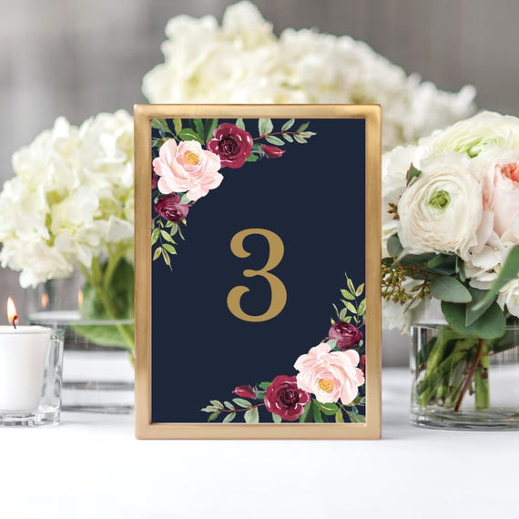 printable marsala wedding table number template table numbers