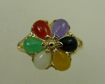 Multi-Color Jade 4 x 6 mm Ring With 14k Yellow Gold
