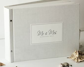 Big Size Instax Pictures Guest Book,  White Linen Guest Book by OreDesignSpace