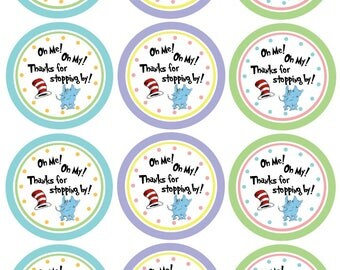 Thank You Gift Tags for Parties - Dr. Seuss, Oh The Places You'll Go