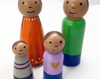 Peg Doll Family - Dollhouse Family - Medium Skin Tone - Ready to Ship - Peg People - Wooden Peg Dolls