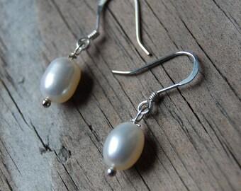 Sterling Silver Genuine Pearl Drop Earrings