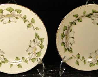 """TWO Homer Laughlin Eggshell Georgian Cotillion Bread Plates 6 1/4"""" Set of 2 EXCELLENT!"""