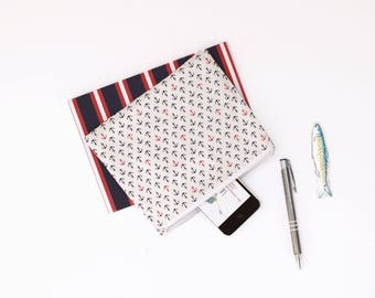 Nautical clutch , zippered pouch with anchors printed , makeup pouch , travel pouch, nautical pouch , babyshower gift , blue white red