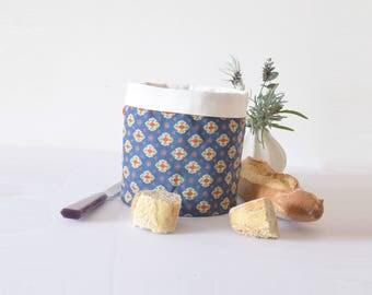 French Provençal fabric basket , vintage, French provence,  fabric storage, nesting basket, kitchen basket, nursery basket, christas