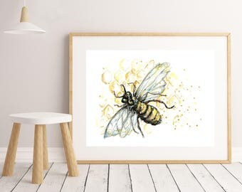 Bee Sketch Art Print, home decor, watercolour, wall art, office art, drawing, insect, modern art, poster, pen & ink, honeycomb,