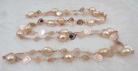 Lovely rose gold plated heart chain long necklace with genuine freshwater pink pearls