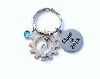 Engineering Graduation Gift Class of 2018, Mechanic Key Chain, Gear Keychain Grad Present for Electronic Student Keyring 2019 Mechatronics