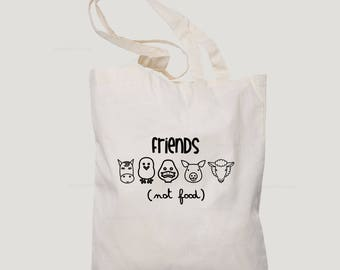 Friends not food estampado en bolsa de tela, regalo original veganos, regalo navidad, regalo vegetarianos, regalo navidad, 2018