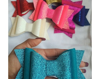 Glitter bow, felt bow, solid color bow, big bow