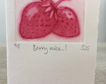 Hand Printed Strawberry Card, Handmade Strawberry Card, Strawberries, Single Printed Strawberry card, Individual berry card, Strawberry Card