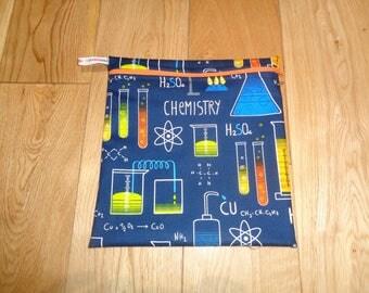 Snack Bag - Bikini Bag - Lunch Bag - Sandwich bag  - Baggie - Eco - Craft Bag - Large Poppins Waterproof Lined Zip Pouch  - Science Geek Blu