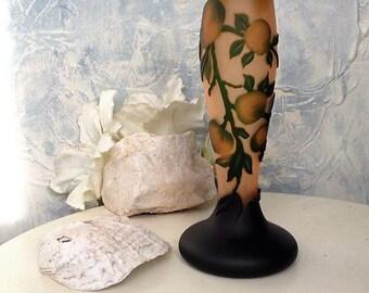 Acid Etched Cameo Pâte de Verre Vase  Art Nouveau Signed