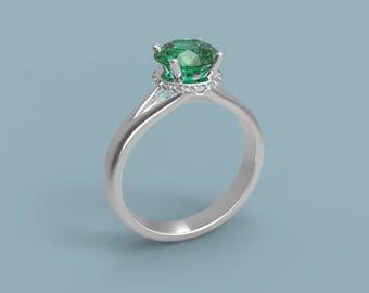 14k White Gold Emerald Halo Engagement Ring Emerald Ring White Gold Ring Emerald Diamond Ring Emerald Halo Ring