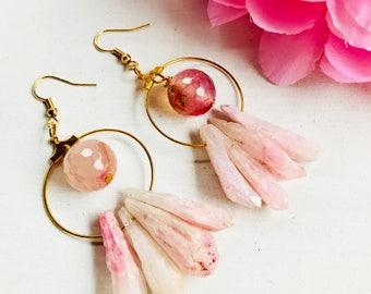 Titanium quartz earrings, Quartz hoop earrings, Hoop earrings, crystal quartz earrings, hoop earring, hoop Earrings natural stones, hoop