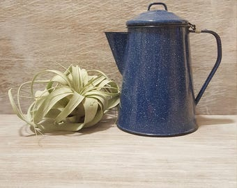 vintage blue speckled enamelware teapot - coffee pot
