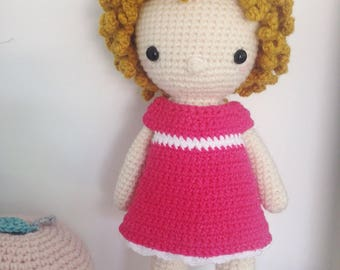 Coralie doll crochet pink and blonde