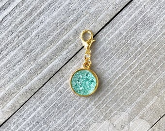 Planner Charm | Aqua Druzy Planner Charm, Zipper Pull Charm, Gold Notebook Charm, Druzy Purse Charm Backpack Charm Decoration