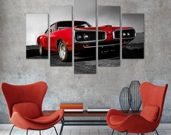 car print red canvas decor car decor print car canvas decor canvas