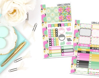 Black Floral Collection-Personal Planner Sticker Kit