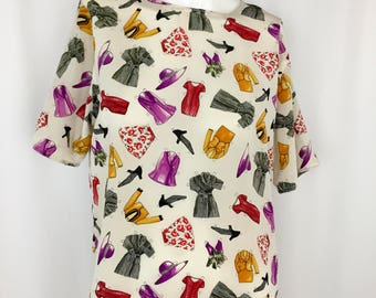 Vintage Silk Novelty Print Blouse || 1990's Silk Boxy Blouse || Simple Minimalist Blouse with Fun Print || Medium