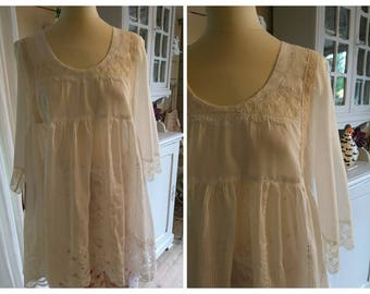 TUNIC MARION gohique romantic, hippie, Gypsy, shabby chic white cotton VOILE
