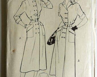 1950s Slim Double Breasted Coat Dress Pattern