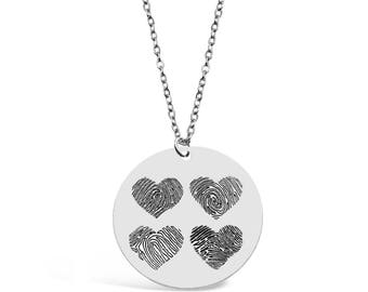 Custom Four Fingerprints Hearts Necklace - Personalized Fingerprints Jewelry - Fingerprints Pendant - Memorial Gift - Memorial Jewelry