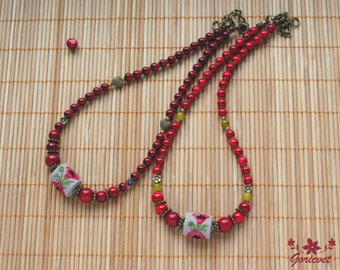Embroidered necklace red jewelry poppy flower jewelry coral beaded necklace nature jewelry hand embroidery jewelry birthday gift for women