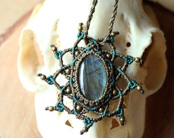 macrame mandala necklace with shiny labradorite and brass beads brown petrol blue