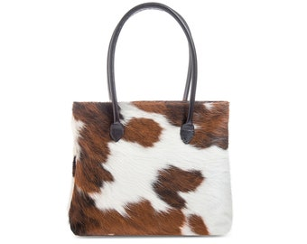 Tricolor Cowhide Bag | Cowhide Handbag | Cowhide Leather Tote