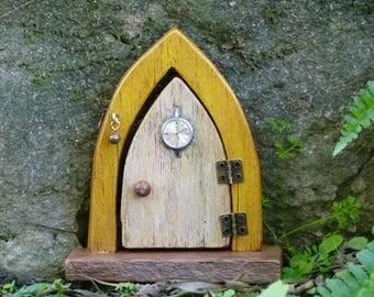 Opening Wooden Fairy Door, Yellow Fairy Door with Clock Face, Steampunk Faerie Door