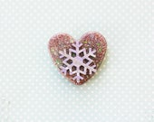 RESERVED for Taylor Bergman Christmas Snowflake Brooch - Christmas Heart Brooch - Handmade Confetti Lucite Sparkle Heart Pin