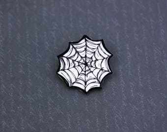 SALE Spooky Spooky Spiderweb Brooch - Hand Painted Shrink Plastic Spiderweb Pin