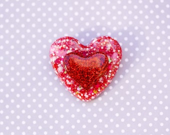 Pink and Red Heart Brooch