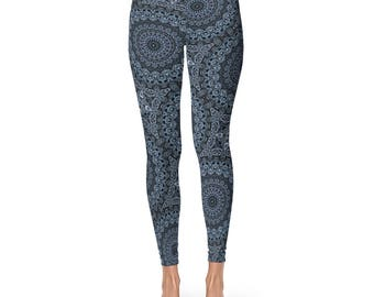 Leggings - Printed Blue Yoga Pants for Women, Mandala Design Wearable Art Clothing