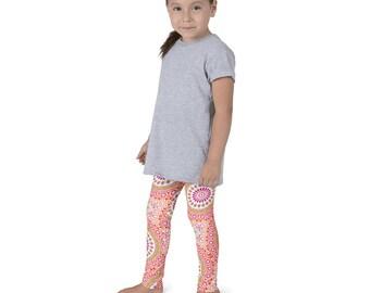 Kids Leggings, Cute Pink and Orange Leggings for Girls, Children's Printed Yoga Pants