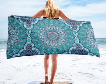 Funky Blue Beach Blanket, Lightweight Beach Towel, Mandala Towel for Beach or Pool, Towel Cover Up