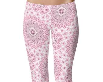 Pink Capri Leggings, Yoga Pants, Mandala Flower Leggings