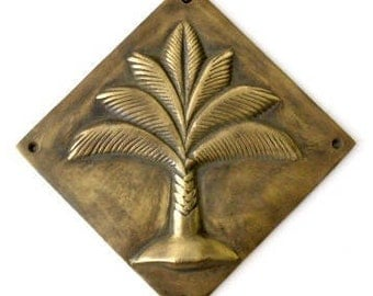 Palm Tree Brass Plaque, Wall Decal,  Embossing, Tropical Living