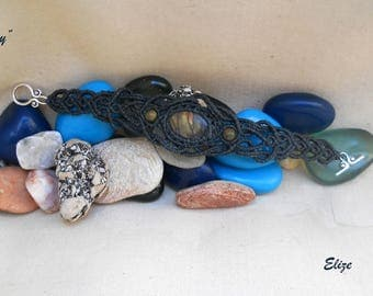 """Macrame bracelet with Unakite """"Crunchy"""" beads and cabochon"""