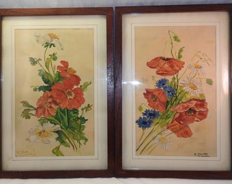 a pair(2) paintings  of still life watercolour,framed,signed,dated,glazed