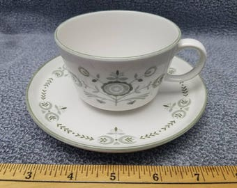 "Cup and Saucer, Franciscan, ""Heritage"" / FREE SHIPPING in U.S."