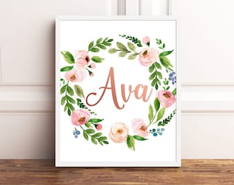 Custom Name Print, Personalized Name Print, Rose Gold, Floral, Print, Nursery Name Print, Custom Made, Girls Room Decor, Girls Name Art Sign