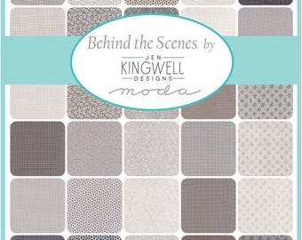 "NEW! Behind the Scenes Wovens - (42) 10"" Squares Layer Cake - Moda - Jen Kingwell - Grey tonals and blenders"
