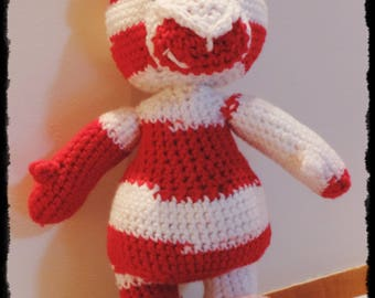 Red and white crochet Teddy bear