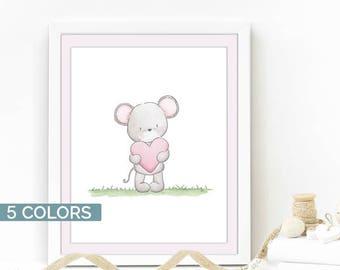 Woodland nursery decor, Watercolor mouse prints, Woodland friends, Kids room wall art